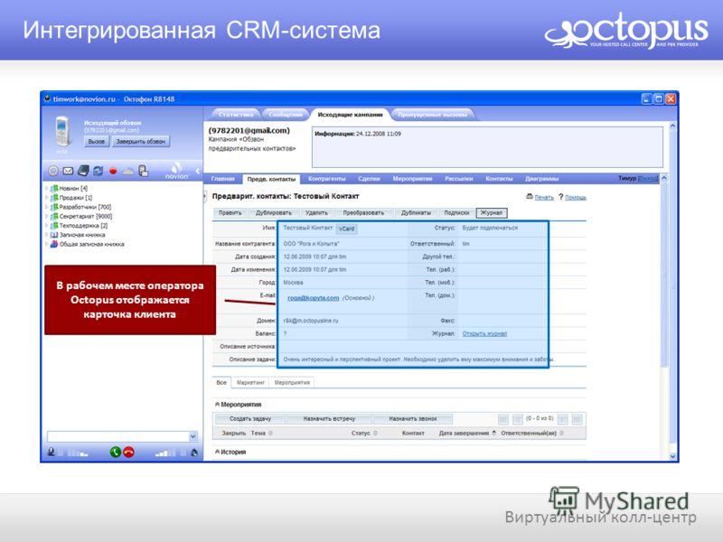 Интегрированная CRM-система Виртуальный колл-центр В рабочем месте оператора Octopus отображается карточка клиента