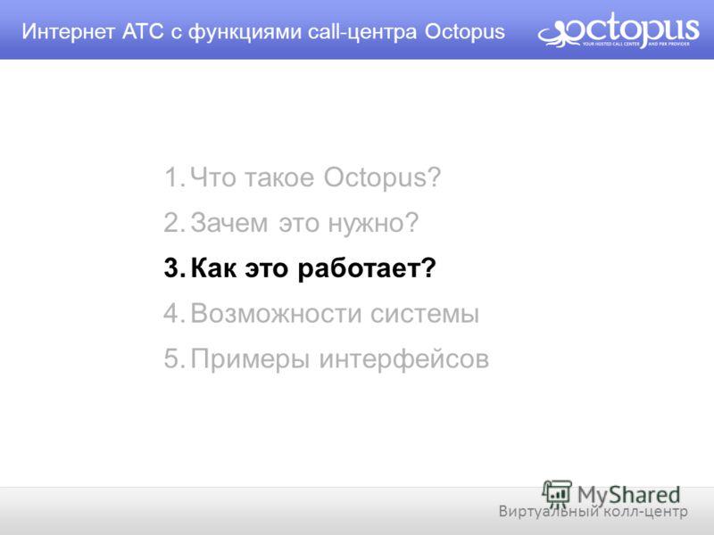 1.Что такое Octopus? 2.Зачем это нужно? 3.Как это работает? 4.Возможности системы 5.Примеры интерфейсов Интернет АТС с функциями call-центра Octopus