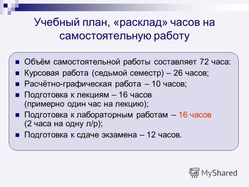 Учебный план, «расклад» часов на самостоятельную работу Объём самостоятельной работы составляет 72 часа: Курсовая работа (седьмой семестр) – 26 часов; Расчётно-графическая работа – 10 часов; Подготовка к лекциям – 16 часов (примерно один час на лекци