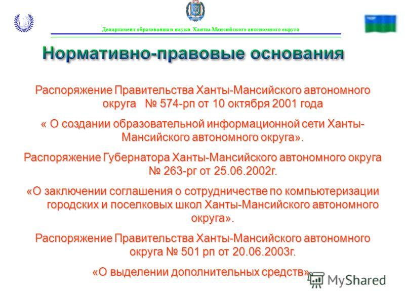 Нормативно-правовые основания Департамент образования и науки Ханты-Мансийского автономного округа Распоряжение Правительства Ханты-Мансийского автономного округа 574-рп от 10 октября 2001 года « О создании образовательной информационной сети Ханты-