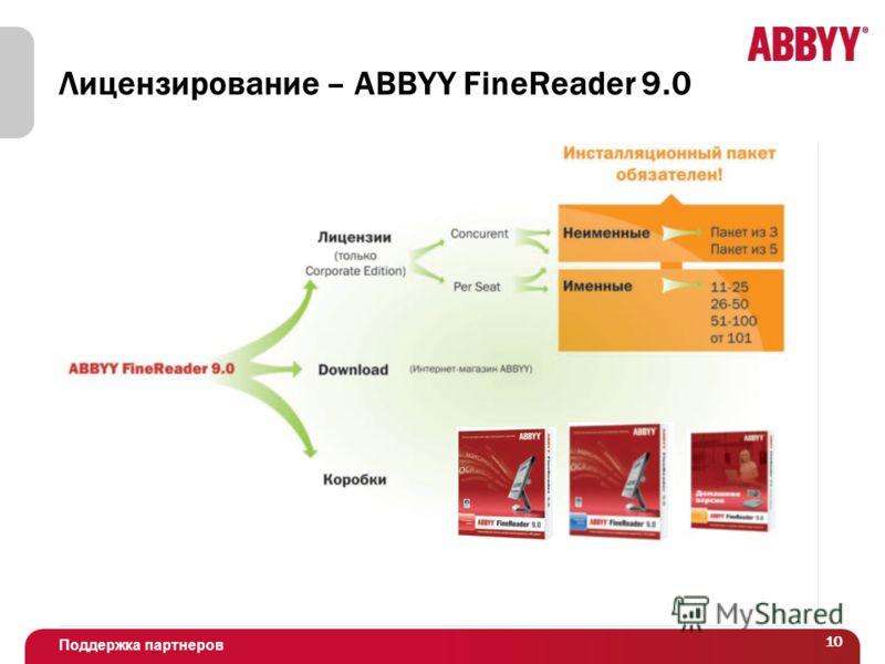 Поддержка партнеров 10 Лицензирование – ABBYY FineReader 9.0