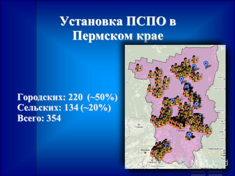Установка ПСПО в Пермском крае Городских: 220 (~50%) Cельских: 134 (~20%) Всего: 354