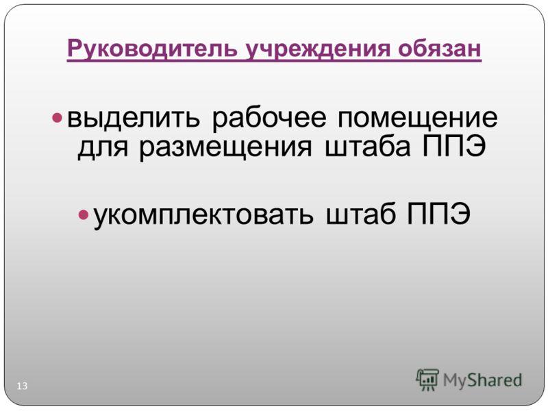 Руководитель учреждения обязан 13 выделить рабочее помещение для размещения штаба ППЭ укомплектовать штаб ППЭ