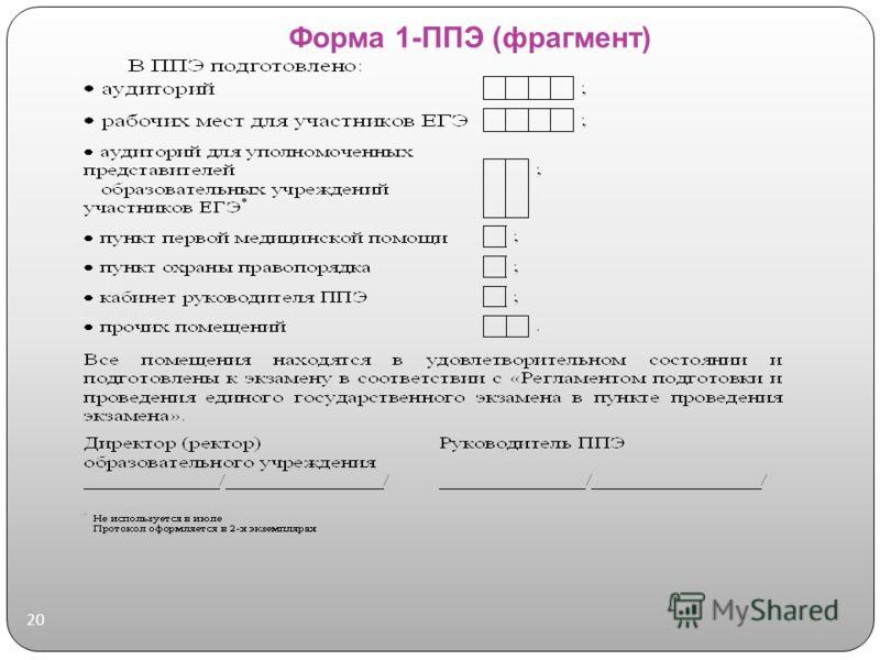 Форма 1-ППЭ (фрагмент) 20