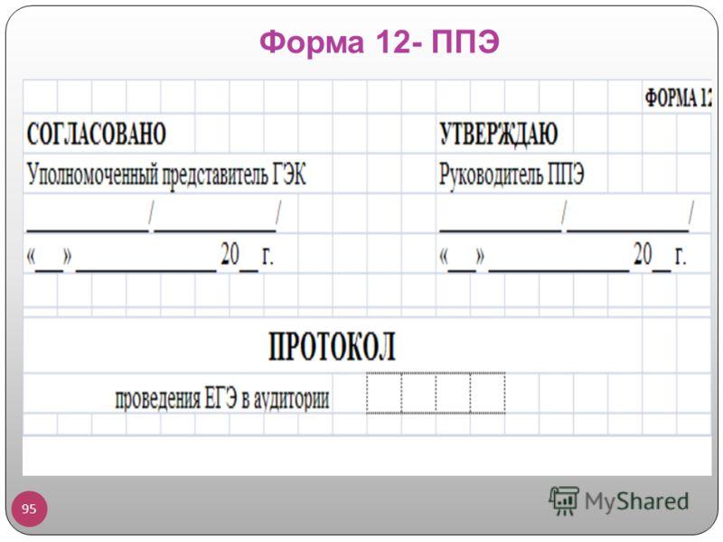Форма 12- ППЭ 95