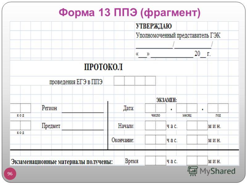 Форма 13 ППЭ (фрагмент) 96