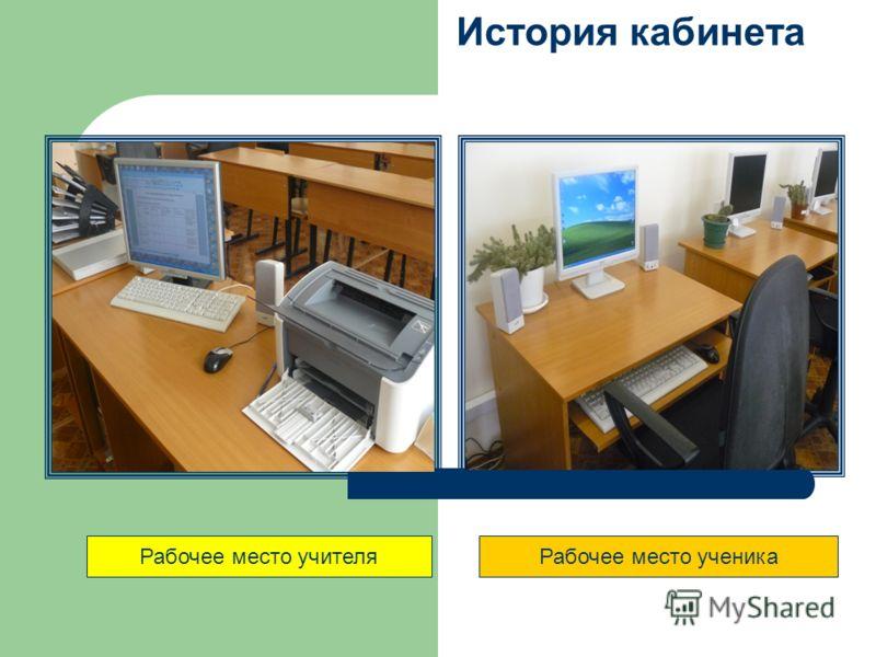Рабочее место ученикаРабочее место учителя История кабинета