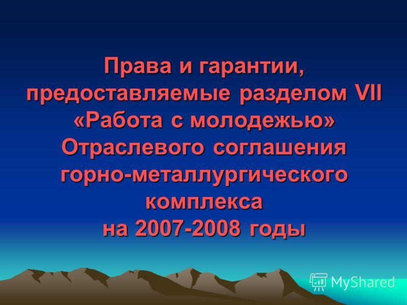 Права и гарантии, предоставляемые разделом VII «Работа с молодежью» Отраслевого соглашения горно-металлургического комплекса на 2007-2008 годы