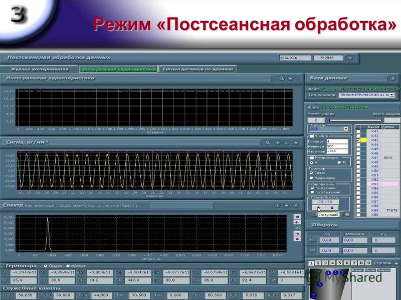 Режим «Постсеансная обработка» Режим «Постсеансная обработка» предназначен для отображения в графическом виде зарегистрированной информации в режимах: непрерывном - в темпе, определяемым производительностью компьютера постраничное пролистывание спект