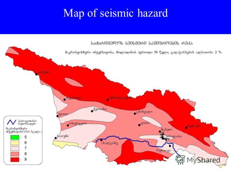 Map of seismic hazard