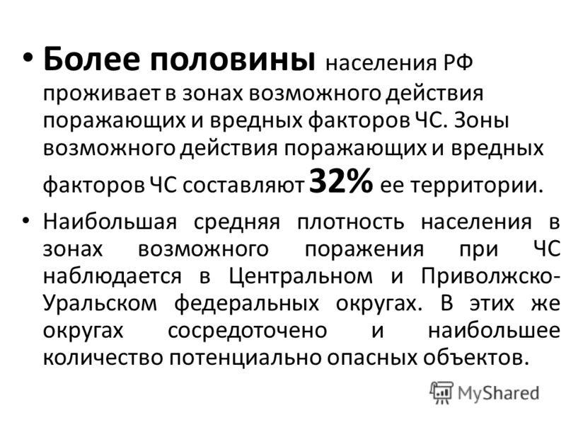 Более половины населения РФ проживает в зонах возможного действия поражающих и вредных факторов ЧС. Зоны возможного действия поражающих и вредных факторов ЧС составляют 32% ее территории. Наибольшая средняя плотность населения в зонах возможного пора
