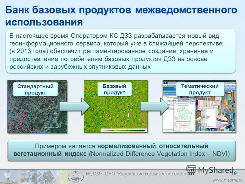 Банк базовых продуктов межведомственного использования В настоящее время Оператором КС ДЗЗ разрабатывается новый вид геоинформационного сервиса, который уже в ближайшей перспективе (в 2013 года) обеспечит регламентированное создание, хранение и предо