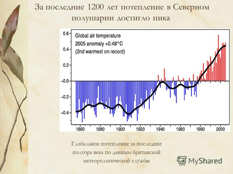 За последние 1200 лет потепление в Северном полушарии достигло пика Глобальное потепление за последние полтора века по данным британской метеорологической службы