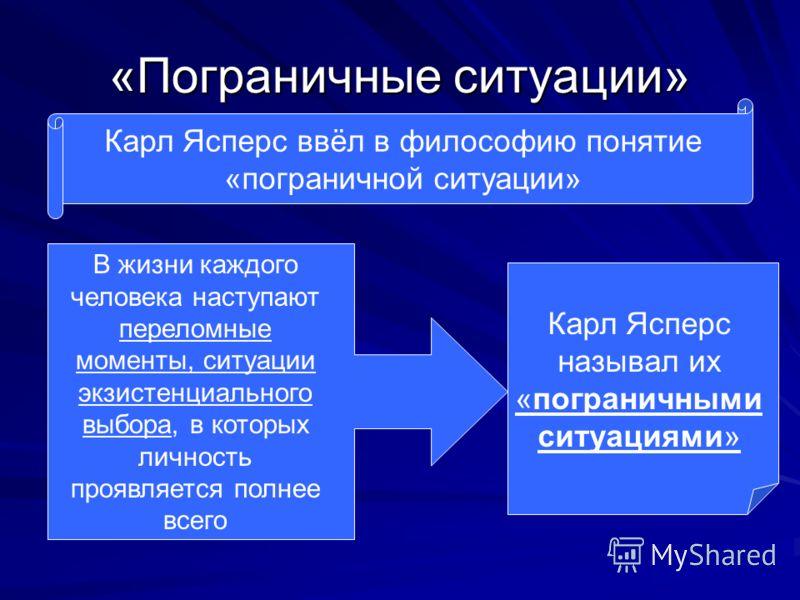 «Пограничные ситуации» Карл Ясперс ввёл в философию понятие «пограничной ситуации» В жизни каждого человека наступают переломные моменты, ситуации экзистенциального выбора, в которых личность проявляется полнее всего Карл Ясперс называл их «пограничн