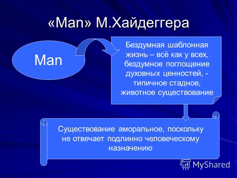 «Man» М.Хайдеггера Man Бездумная шаблонная жизнь – всё как у всех, бездумное поглощение духовных ценностей, - типичное стадное, животное существование Существование аморальное, поскольку не отвечает подлинно человеческому назначению