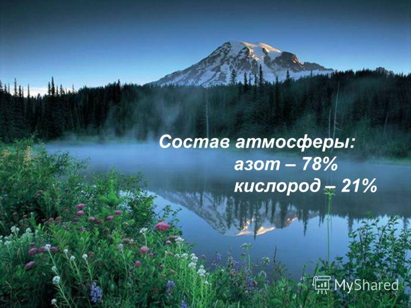 Состав атмосферы: азот – 78% кислород – 21%