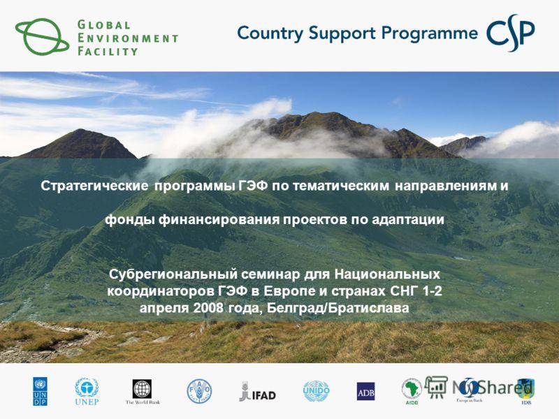 Стратегические программы ГЭФ по тематическим направлениям и фонды финансирования проектов по адаптации Субрегиональный семинар для Национальных координаторов ГЭФ в Европе и странах СНГ 1-2 апреля 2008 года, Белград/Братислава