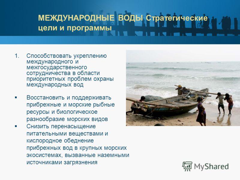 МЕЖДУНАРОДНЫЕ ВОДЫ Стратегические цели и программы 1.Способствовать укреплению международного и межгосударственного сотрудничества в области приоритетных проблем охраны международных вод Восстановить и поддерживать прибрежные и морские рыбные ресурсы