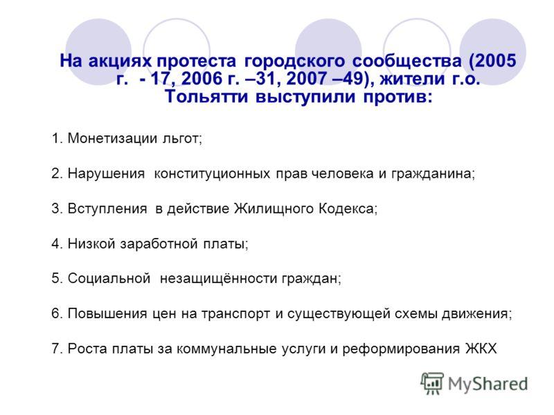 На акциях протеста городского сообщества (2005 г. - 17, 2006 г. –31, 2007 –49), жители г.о. Тольятти выступили против: 1. Монетизации льгот; 2. Нарушения конституционных прав человека и гражданина; 3. Вступления в действие Жилищного Кодекса; 4. Низко