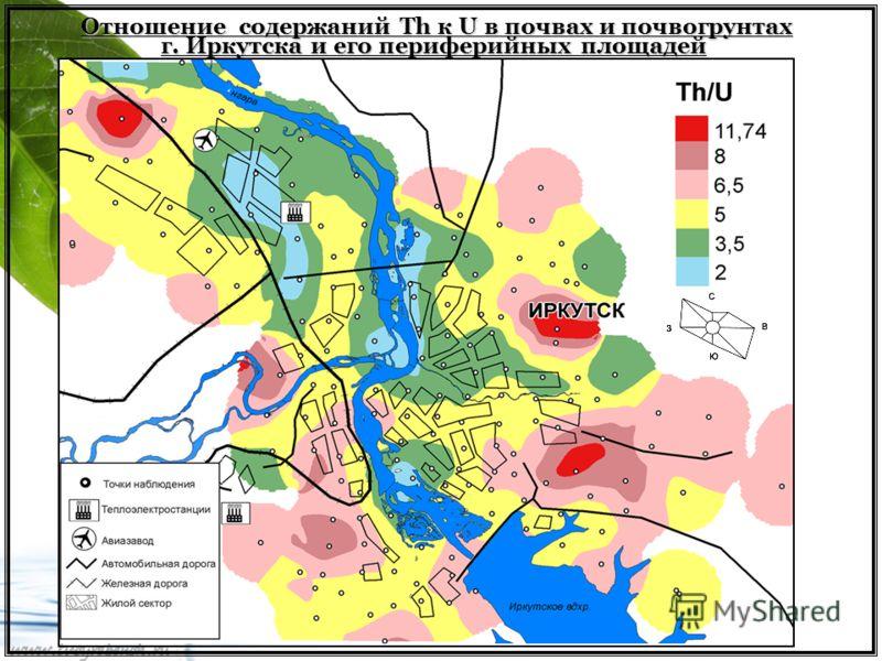 Отношение содержаний Th к U в почвах и почвогрунтах г. Иркутска и его периферийных площадей