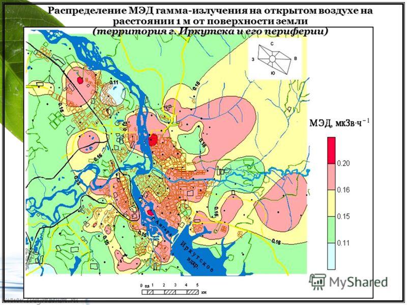 Распределение МЭД гамма-излучения на открытом воздухе на расстоянии 1 м от поверхности земли (территория г. Иркутска и его периферии)