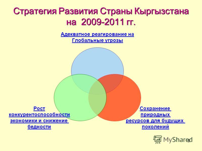 6 Стратегия Развития Страны Кыргызстана на 2009-2011 гг. Адекватное реагирование на Глобальные угрозы Сохранение природных ресурсов для будущих поколений Рост конкурентоспособности экономики и снижение бедности