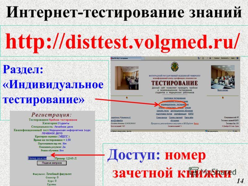 http:// disttest.volgmed.ru / Раздел: «Индивидуальное тестирование» Доступ: номер зачетной книжки 14 Интернет-тестирование знаний
