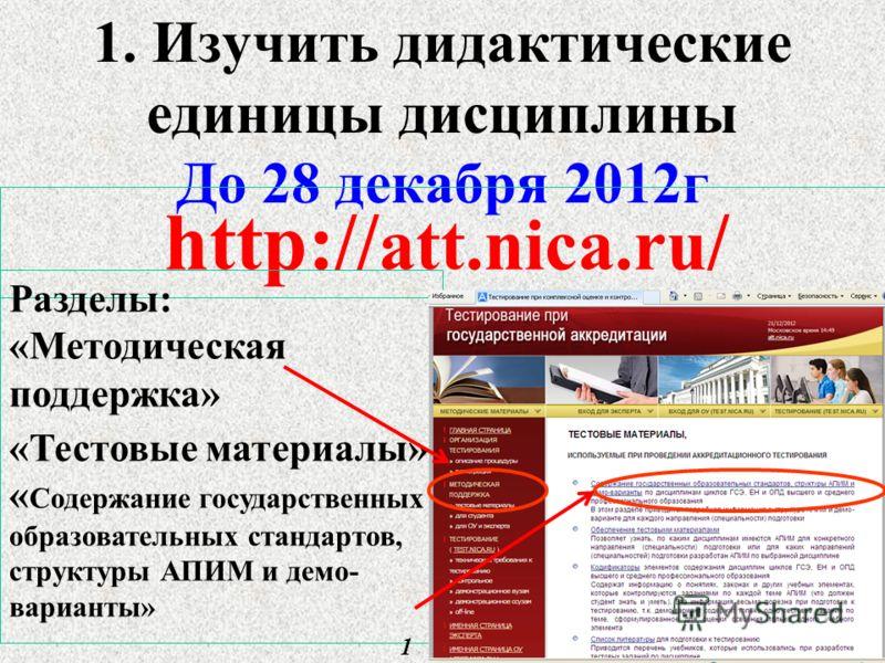 1. Изучить дидактические единицы дисциплины До 28 декабря 2012г 7 http:// att.nica.ru / Разделы: «Методическая поддержка» «Тестовые материалы» « Содержание государственных образовательных стандартов, структуры АПИМ и демо- варианты» 1