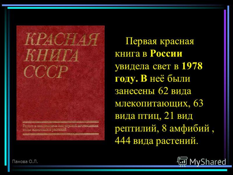 Первая красная книга в России увидела свет в 1978 году. В неё были занесены 62 вида млекопитающих, 63 вида птиц, 21 вид рептилий, 8 амфибий, 444 вида растений. Панова О.Л.3