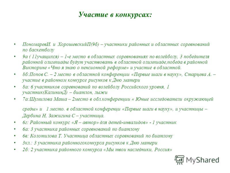 Участие в конкурсах: ПономаревИ. и ХорошевскийП(9б) – участники районных и областных соревнований по баскетболу 9а ( 11учащихся) – 1-е место в областных соревнованиях по волейболу, 3 победителя районной олимпиады будут участвовать в областной олимпиа