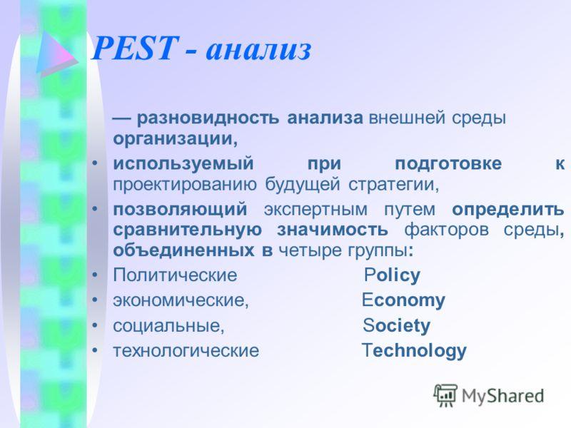 PEST - анализ разновидность анализа внешней среды организации, используемый при подготовке к проектированию будущей стратегии, позволяющий экспертным путем определить сравнительную значимость факторов среды, объединенных в четыре группы: Политические