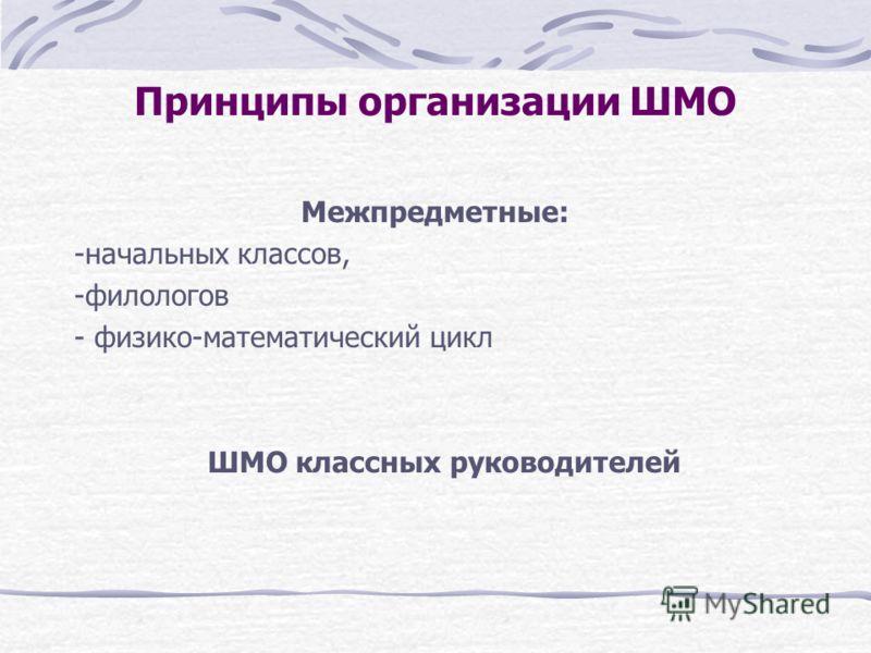 Принципы организации ШМО Межпредметные: -начальных классов, -филологов - физико-математический цикл ШМО классных руководителей