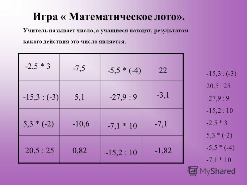 Игра « Математическое лото». Учитель называет число, а учащиеся находят, результатом какого действия это число является. -15,3 : (-3) 20,5 : 25 -27,9 : 9 -15,2 : 10 -2,5 * 3 5,3 * (-2) -5,5 * (-4) -7,1 * 10 -2,5 * 3 -7,5 5,1 -10,6 0,82 -15,3 : (-3) 5