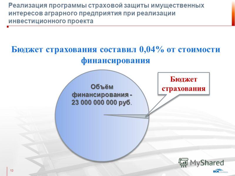 Реализация программы страховой защиты имущественных интересов аграрного предприятия при реализации инвестиционного проекта 13 Бюджет страхования составил 0,04% от стоимости финансирования Объём финансирования - 23 000 000 000 руб. Объём финансировани