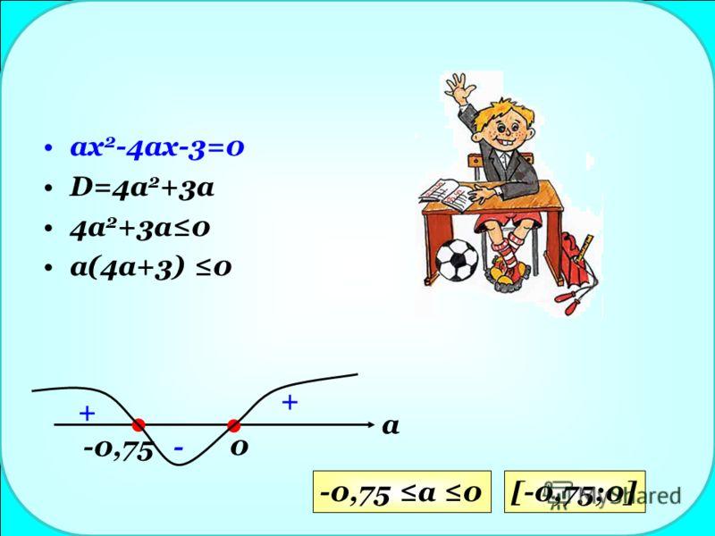 ax 2 -4ax-3=0 D=4a 2 +3a 4a 2 +3a0 a(4a+3) 0 -0,75 0 + - + a -0,75 a 0[-0,75;0]