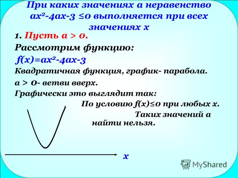 При каких значениях а неравенство ax 2 -4ax-3 0 выполняется при всех значениях x 1. Пусть а > 0. Рассмотрим функцию: f(x)=ax 2 -4ax-3 Квадратичная функция, график- парабола. a > 0 - ветви вверх. Графически это выглядит так: По условию f(x)0 при любых