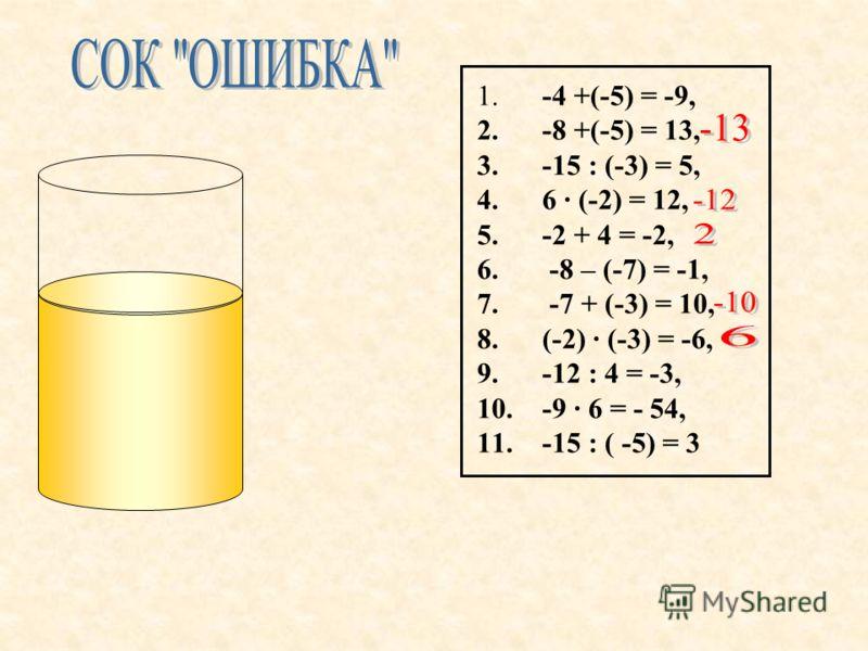 1. -4 +(-5) = -9, 2. -8 +(-5) = 13, 3. -15 : (-3) = 5, 4. 6 · (-2) = 12, 5. -2 + 4 = -2, 6. -8 – (-7) = -1, 7. -7 + (-3) = 10, 8. (-2) · (-3) = -6, 9. -12 : 4 = -3, 10. -9 · 6 = - 54, 11. -15 : ( -5) = 3