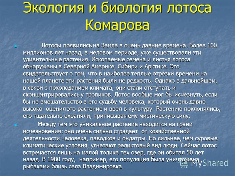 Экология и биология лотоса Комарова Лотосы появились на Земле в очень давние времена. Более 100 миллионов лет назад, в меловом периоде, уже существовали эти удивительные растения. Ископаемые семена и листья лотоса обнаружены в Северной Америке, Сибир
