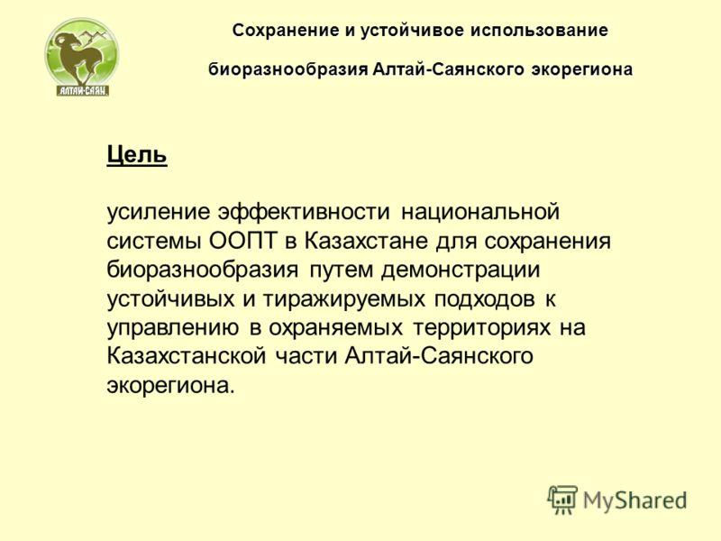 Цель усиление эффективности национальной системы ООПТ в Казахстане для сохранения биоразнообразия путем демонстрации устойчивых и тиражируемых подходов к управлению в охраняемых территориях на Казахстанской части Алтай-Саянского экорегиона.