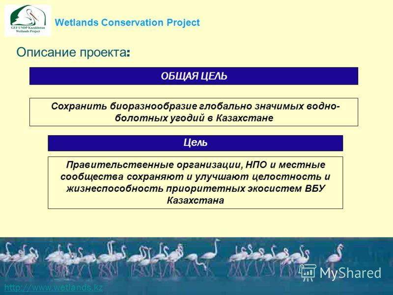 Описание проекта : http://www.wetlands.kz Сохранить биоразнообразие глобально значимых водно- болотных угодий в Казахстане ОБЩАЯ ЦЕЛЬ Правительственные организации, НПО и местные сообщества сохраняют и улучшают целостность и жизнеспособность приорите