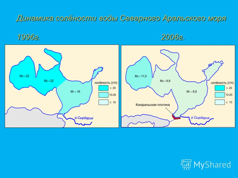 Динамика солёности воды Северного Аральского моря 1996г. 2006г.