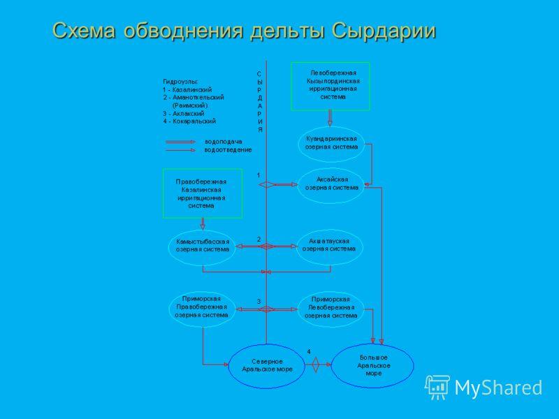 Схема обводнения дельты Сырдарии