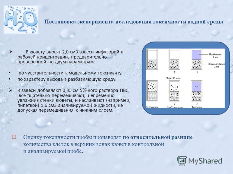 Постановка эксперимента исследования токсичности водной среды В кювету вносят 2,0 см3 взвеси инфузорий в рабочей концентрации, предварительно проверенной по двум параметрам: по чувствительности к модельному токсиканту по характеру выхода в разбавляющ