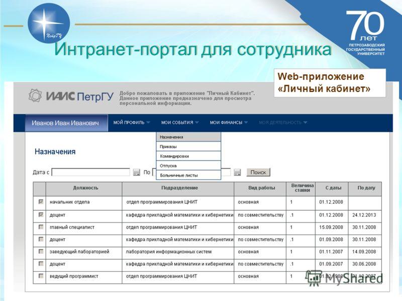 13.06.201333 Web-приложение «Личный кабинет» Интранет-портал для сотрудника