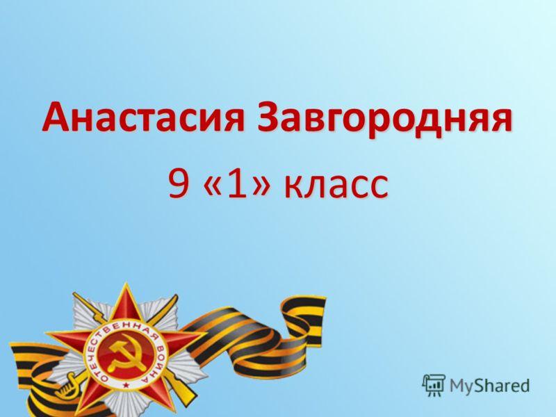 Анастасия Завгородняя 9 «1» класс
