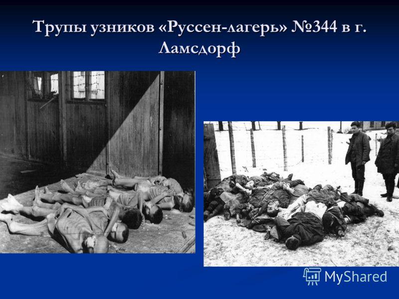 Трупы узников «Руссен-лагерь» 344 в г. Ламсдорф