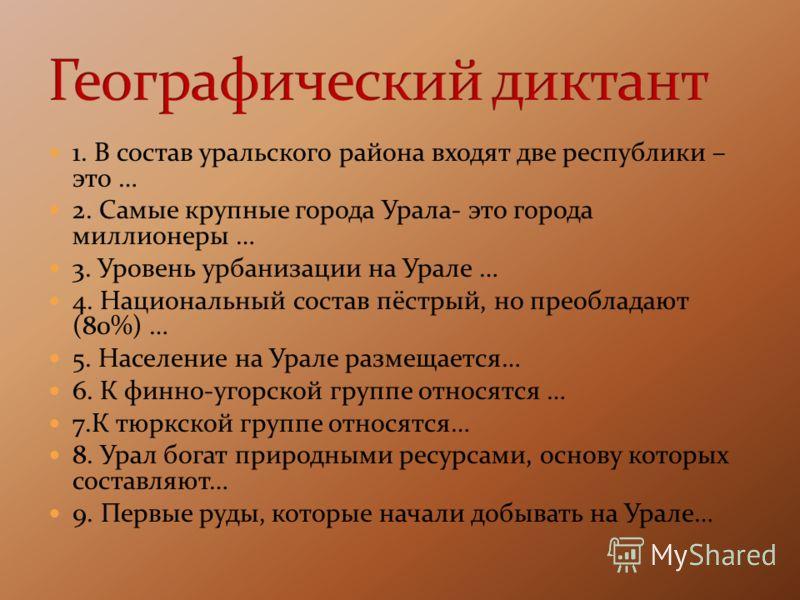 1. В состав уральского района входят две республики – это … 2. Самые крупные города Урала- это города миллионеры … 3. Уровень урбанизации на Урале … 4. Национальный состав пёстрый, но преобладают (80%) … 5. Население на Урале размещается… 6. К финно-