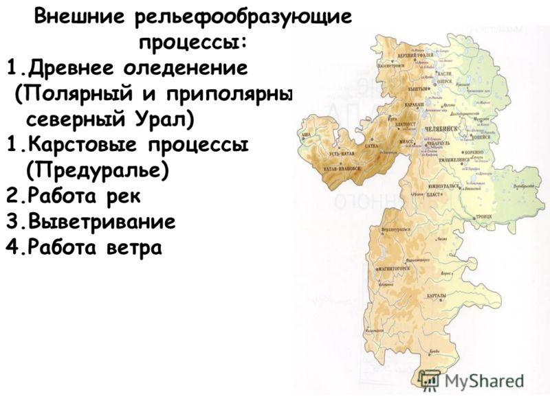 Внешние рельефообразующие процессы: 1.Древнее оледенение (Полярный и приполярный, северный Урал) 1.Карстовые процессы (Предуралье) 2.Работа рек 3.Выветривание 4.Работа ветра