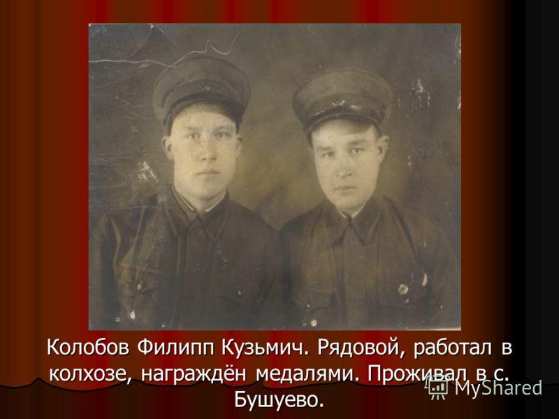 Колобов Филипп Кузьмич. Рядовой, работал в колхозе, награждён медалями. Проживал в с. Бушуево.