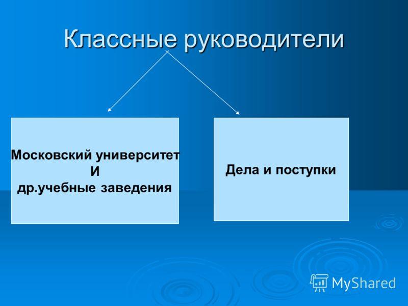 Классные руководители Московский университет И др.учебные заведения Дела и поступки
